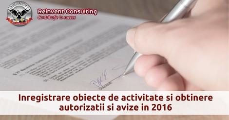 Inregistrare obiecte de activitate si obtinere autorizatii si avize in 2016, Reinvent Consulting