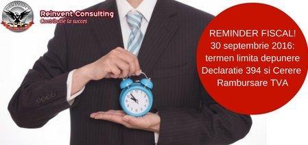 depunere cerere rambursare TVA si declaratie 394 Reinvent consulting