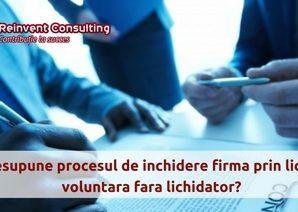 Procesul de inchidere firma prin lichidare voluntara fara lichidator, Reinvent Consulting