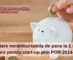 Finantare nerambursabila 2017 de pana la 1 milion de euro pentru start-up, Reinvent Consulting