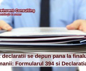 2 declaratii se depun pana la finalul saptamnii- Formularul 394 si Declaratia 010 , Reinvent Consulting