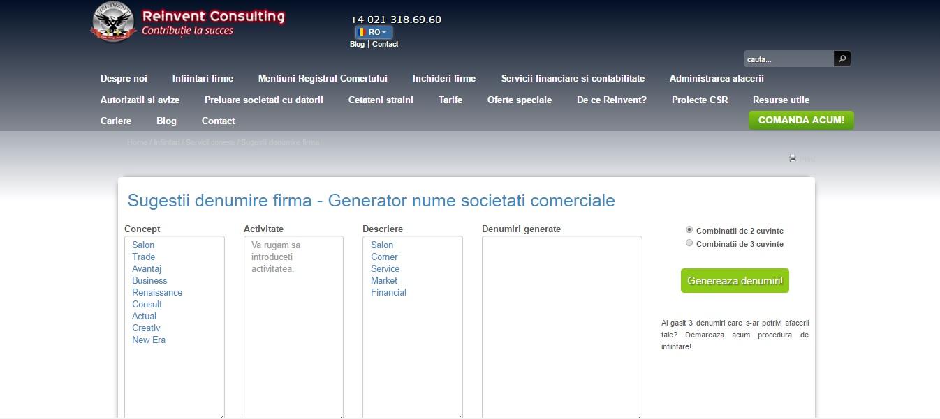 generator denumiri firme, Reinvent Consulting
