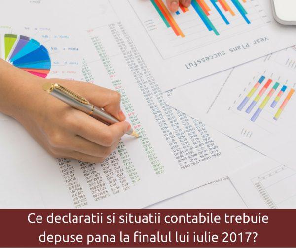 Ce declaratii si situatii contabile trebuie depuse pana la finalul lui iulie 2017-