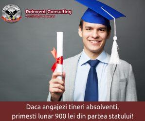 Daca angajezi tineri absolventi, primesti lunar 900 lei din partea statului timp de 1 an!