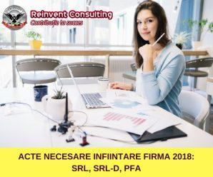 ACTE NECESARE INFIINTARE FIRMA 2018_ SRL, SRL-D, PFA Reinvent Consulting