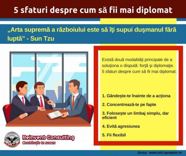 Infografic_ 5 sfaturi despre cum să fii mai diplomat Reinvent Consulting