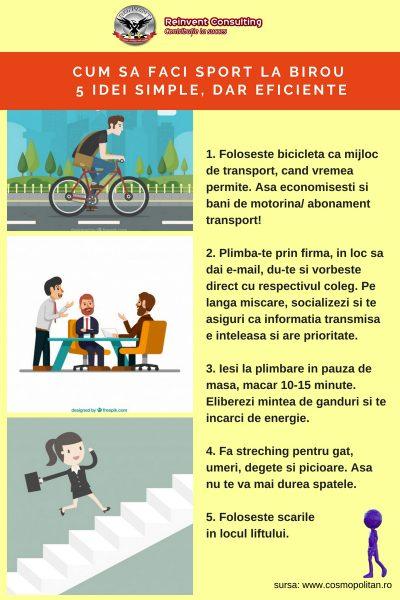 INFOGRAFIC Sport la birou 5 metode Reinvent Consulting